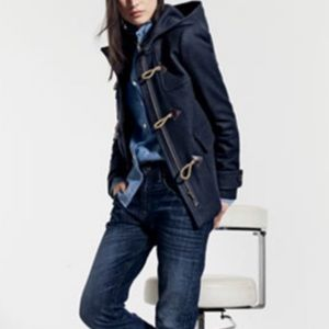 J. CREW Blue Navy Classic Wool Duffle Toggle Coat